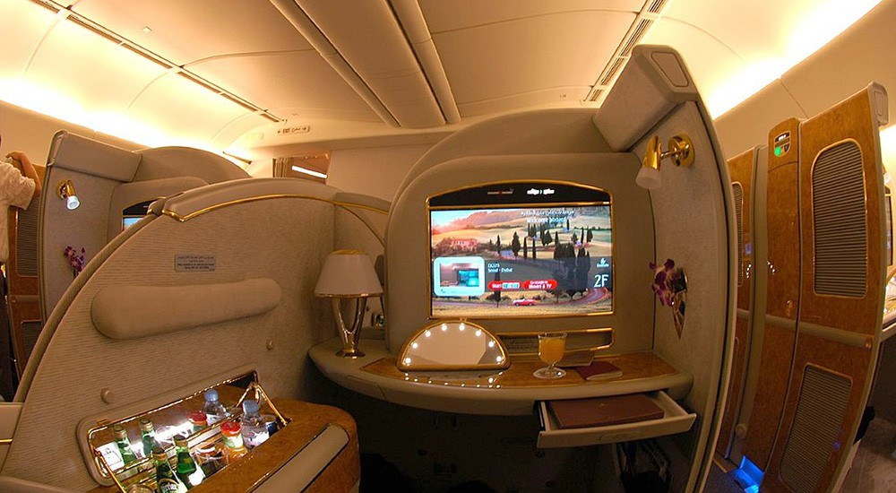 why fly first class: opportunity to work