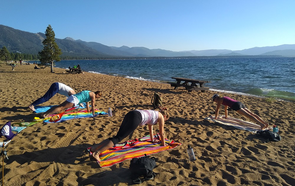 What to do in South Lake Tahoe: yoga on the beach
