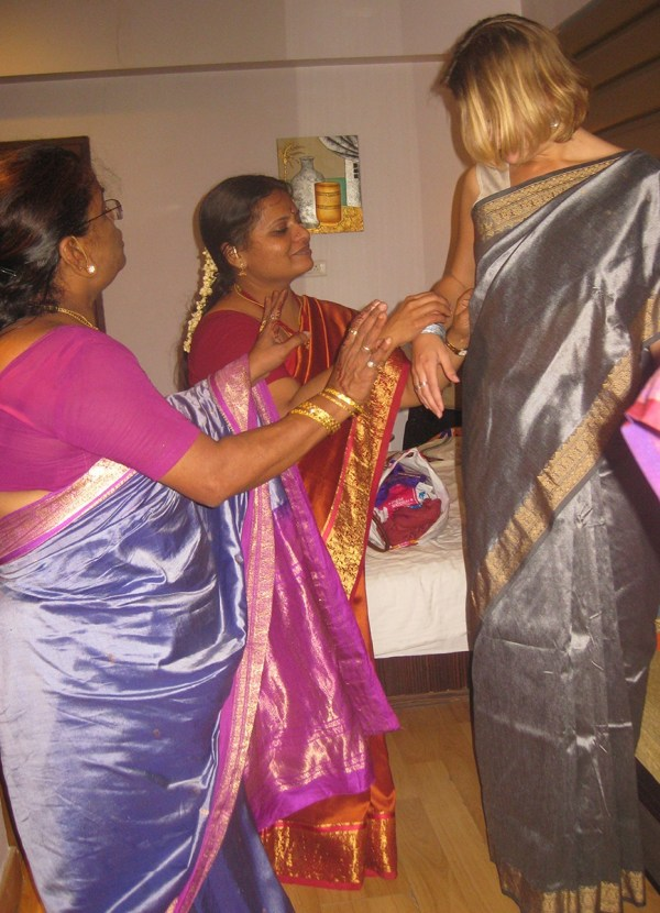 Getting dressed for a wedding in India