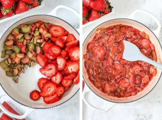 Two images showing the steps to prepare the sugar-sweetened strawberry rhubarb mixture.