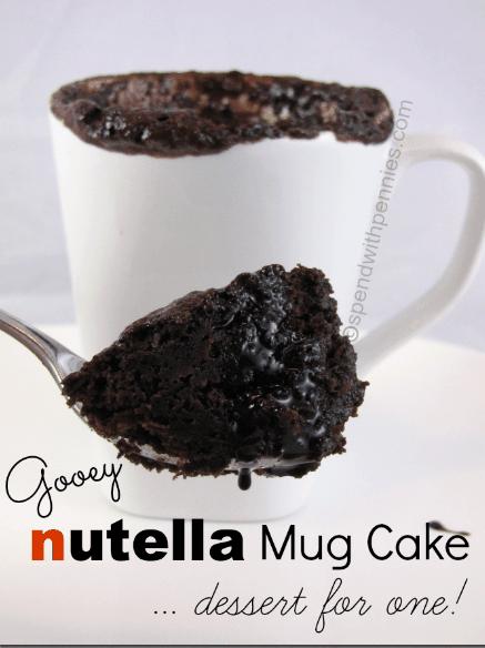 nutella mug cake in the microwave