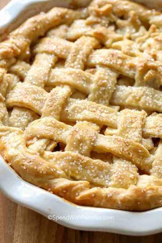 a golden brown lattice pie crust