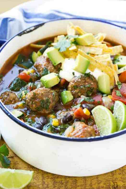 Mexican Meatball Soup loaded with seasoned beef meatballs, black beans and plenty of vegetables