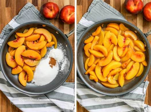 Two images showing the preparation of ingredients for peaches and cream in a pan.