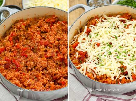 Two images of stuffed pepper casserole before and after being topped with cheese.