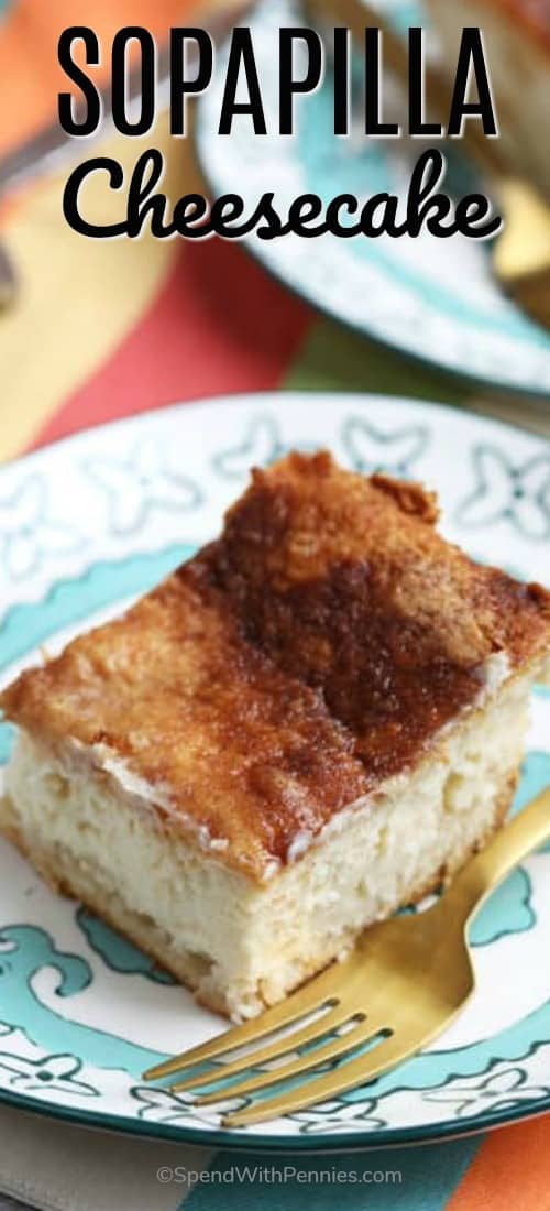 Easy Sopapilla Cheesecake is a simple dessert made of a thick, sweet cheesecake layer sandwiched between flakey crescent dough with a touch of cinnamon sugar.