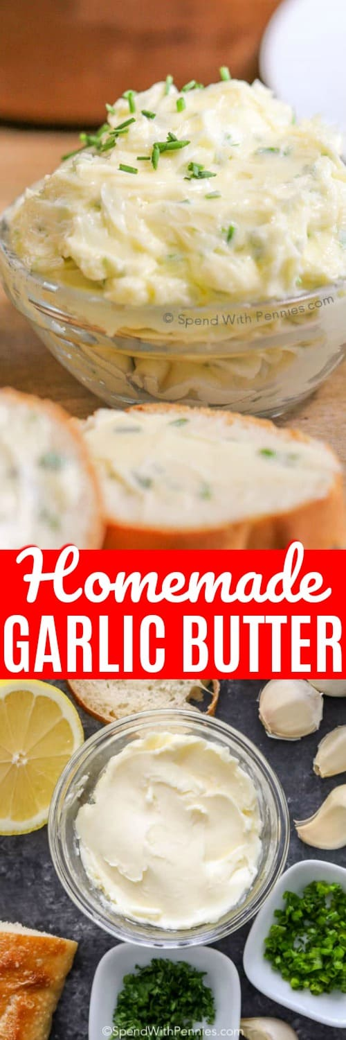 This easy garlic butter recipe makes a delicious spread for appetizers, steak, or bread. We love making homemade garlic bread with this homemade garlic butter recipe. It's simple and delicious! #spendwithpennies #garlicbutter #butter #garlic #garlicspread #easygarlicbutter
