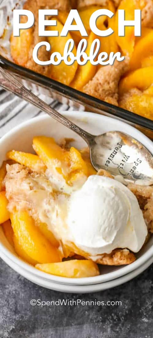 This peach cobbler is one of our favorite desserts. It's an easy dessert recipe that is perfect with vanilla ice cream! #spendwithpennies #peachcobbler #peaches #peach #cobbler #dessert