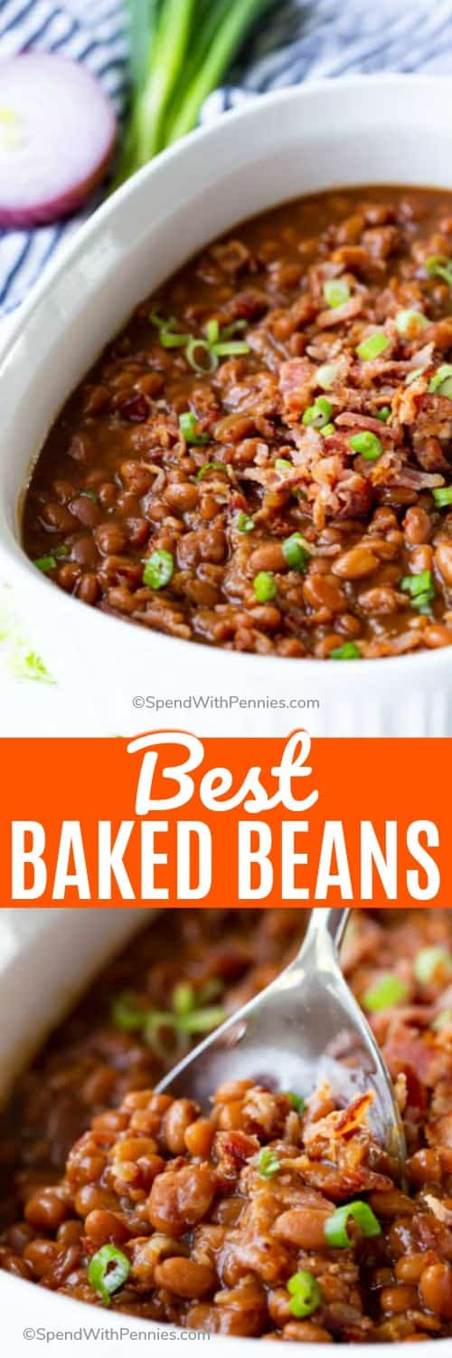 Classic Baked Beans is the perfect side or potluck dish! These beans are loaded with bacon, onions, and peppers in a sweet sauce! #spendwithpennies #classicbakedbeans #sidedish #slowcooker #crockpot