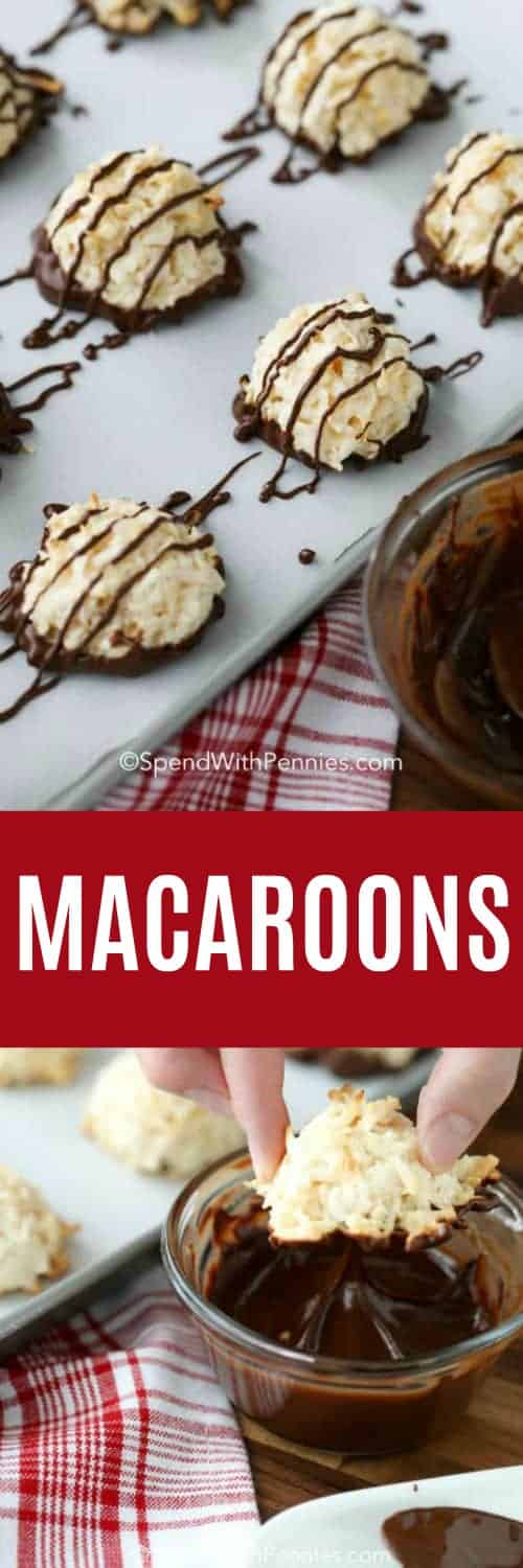 Coconut macaroons with condensed milk are bite-sized 'haystacks' that can be made with, or without, a chocolate dip or drizzle. Either way, your family will love this traditional favorite! #spendwithpennies #coconutmacaroons #coconutmacaroonrecipe #macaroons #macarooncookies #chocolatemacaroons #kidfriendly #dessert #cookie #easyrecipe