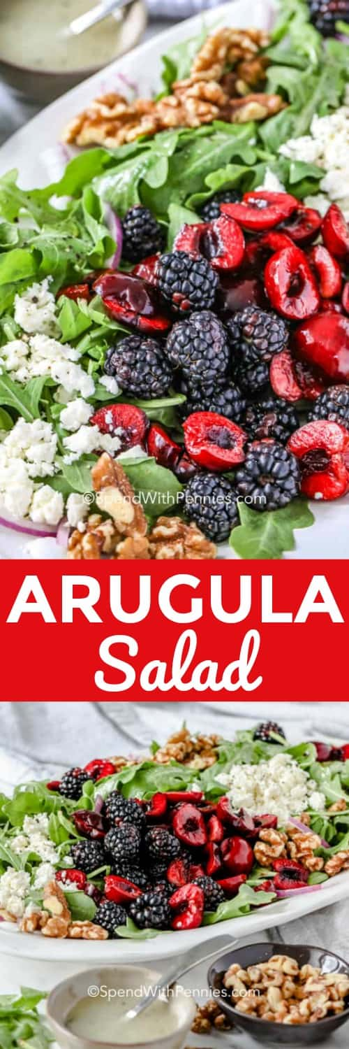 This simple arugula salad is made with baby arugula, strawberries, toasted pecans, and feta, all tossed in a simple vinaigrette dressing.  Have this easy summer salad on the table in 10 minutes, with it's light and refreshing flavors it is sure to become a family flavor! #spendwithpennies #arugulasalad #summersalad #sidedish #10minutesalad
