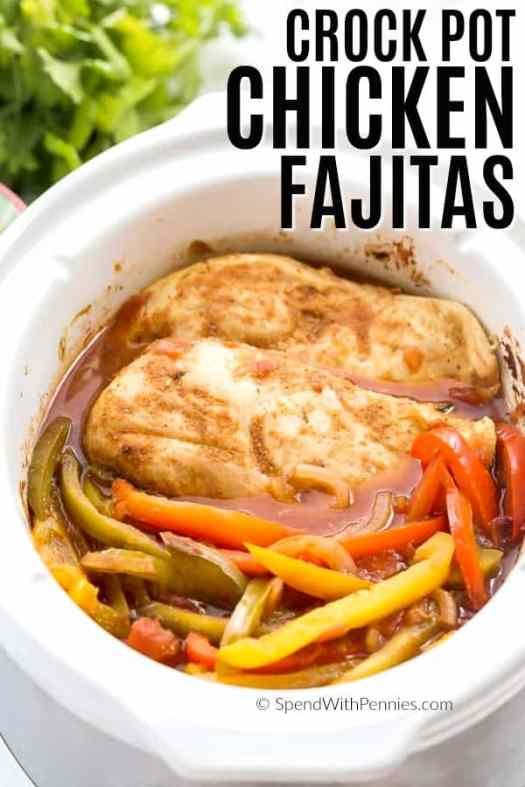 These Crockpot Chicken Fajitas are an easy, weeknight slow cooker dinner that come together with just a few simple ingredients! #crockpot #slowcooker #chicken