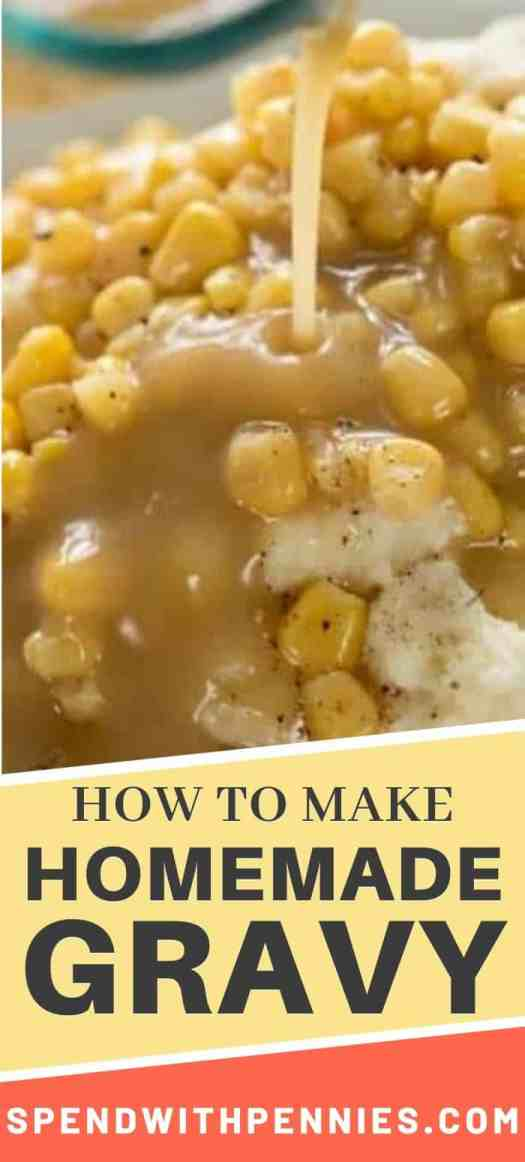 Homemade gravy being poured over mashed potatoes and corn.