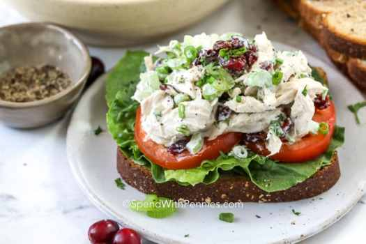 Turkey Salad on top of a slice of bread with lettuce and tomatoes.