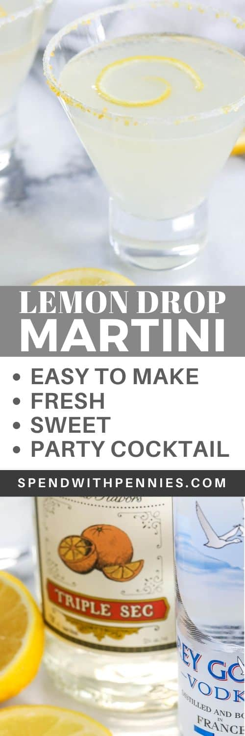 Top photo - Lemon drop martini garnished with a lemon rind. Bottom photo - lemon drop martini ingredients.