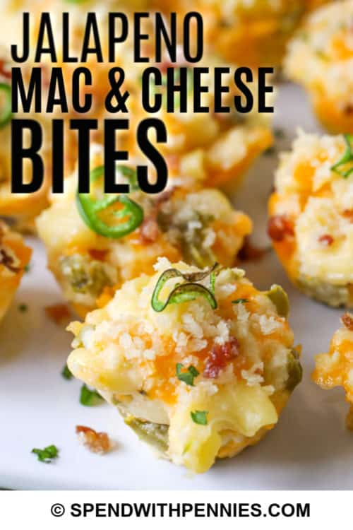 Close up of jalapeno mac and cheese bites.