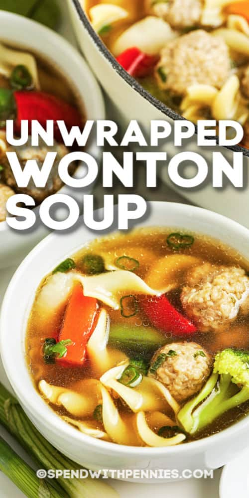 Two bowls of unwrapped wonton soup