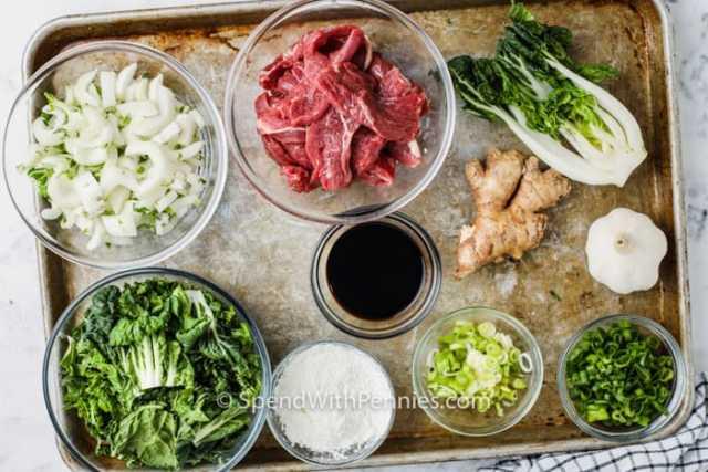 ingredients to make Beef & Bok Choy Stir Fry