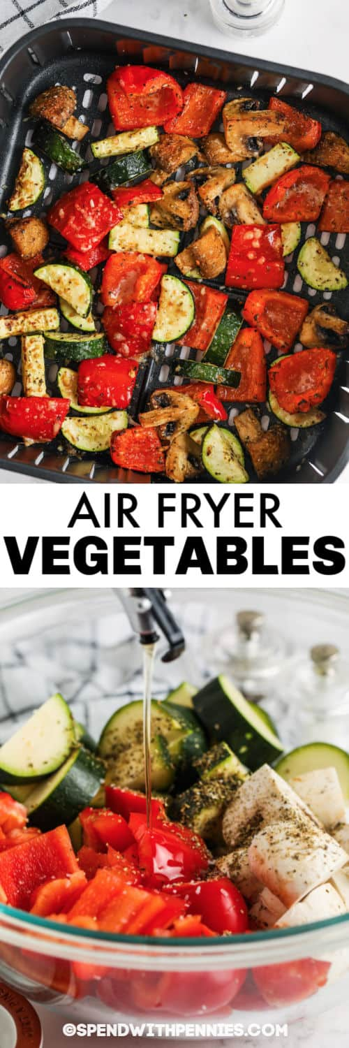 Air Fryer Vegetables in the bowl with oil and in the air fryer