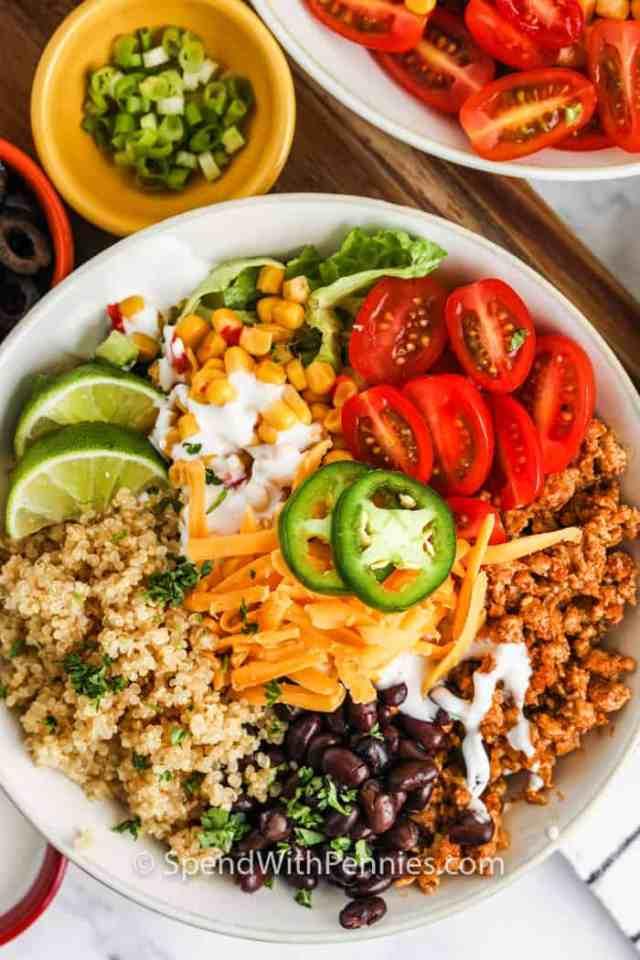 top view of Taco Quinoa Bowl