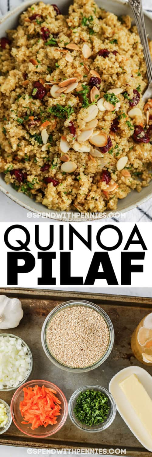 ingredients to make Quinoa Pilaf with plated dish and a title