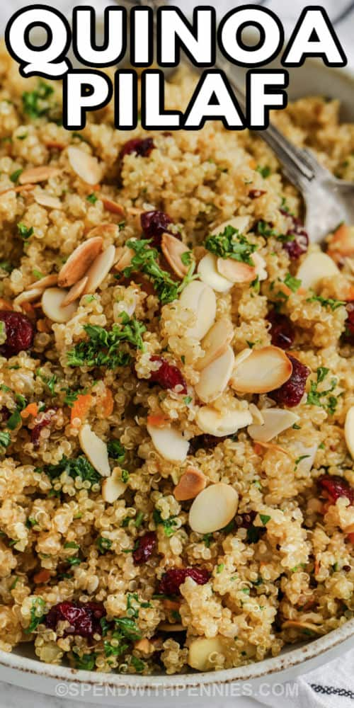 plated Quinoa Pilaf with a title