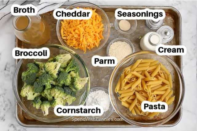 ingredients for broccoli pasta on a pan