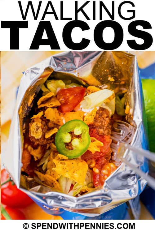 Walking Tacos in a bag with writing