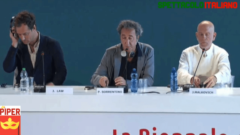 The New Pope conferenza stampa a Venezia 76 con Paolo Sorrentino, Jude Law e John Malkovich  (VIDEO)