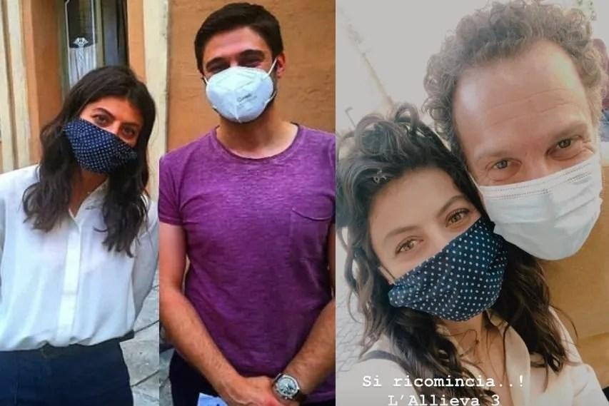 L'Allieva 3 inizio riprese dopo il Covid-19, Lino Guanciale e Alessandra Mastronardi tornano sul set con la mascherina