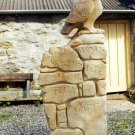 Stand and Stare - Barn owl and poem carved in Moray sandstone
