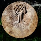 Celtic tree with initials carved in elm