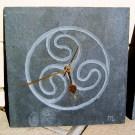 Celtic triskele carved slate clock