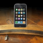 Whisky barrel stave iphone dock