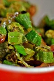 Bhindi Alu Jhalferazi - Stir Fried Crisp Okra with Potatoes