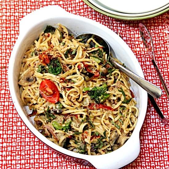 Creamy Vegan Linguini with Loads of Veggies