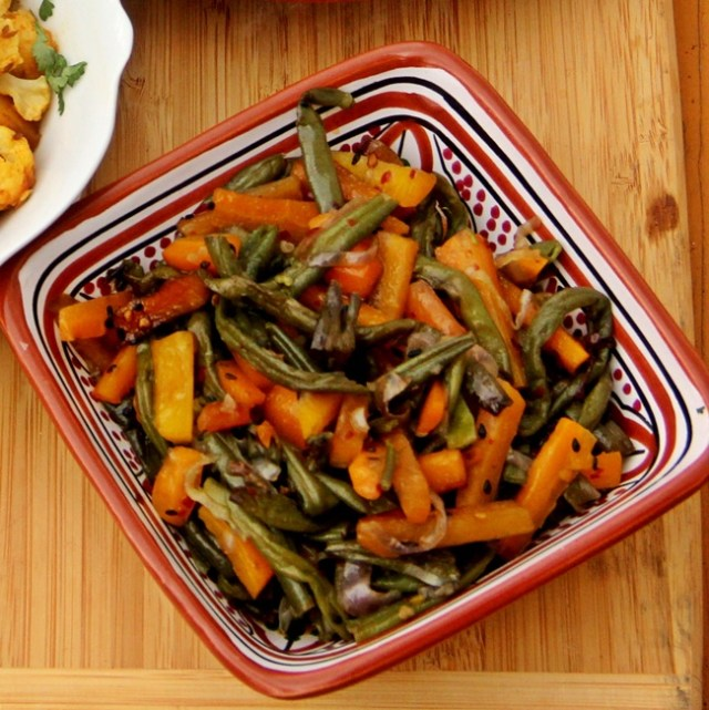 Bengali Stir Fried Carrots and Green Beans