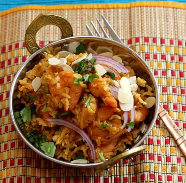 Brown Rice Shrimp Biryani (Instant Pot)