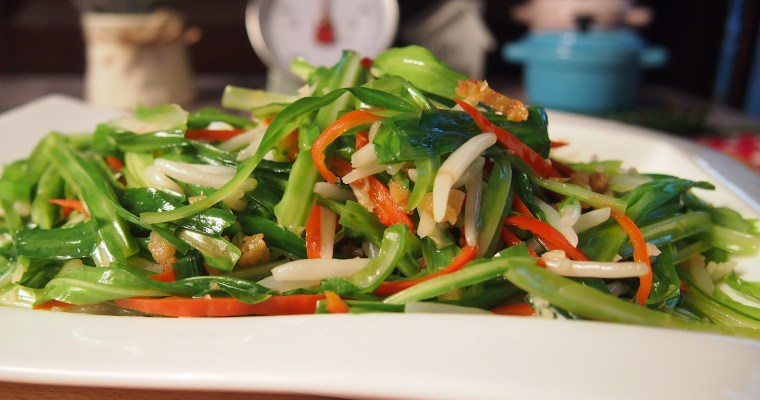 SUPER EASY Garlic Chives with Bean Sprouts & Salted Fish 青龙菜炒豆芽和咸鱼