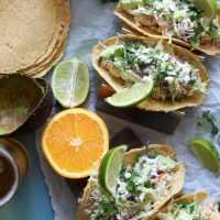 Crockpot Mojo Chicken Tacos with Jalapeño Avocado Crema