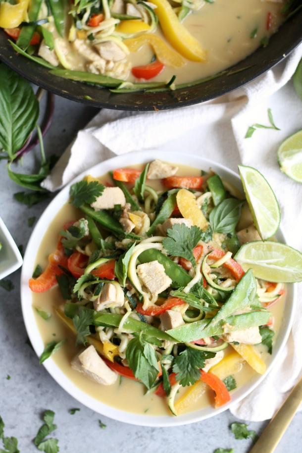 Thai Green Curry Chicken Vegetable Zucchini Noodles