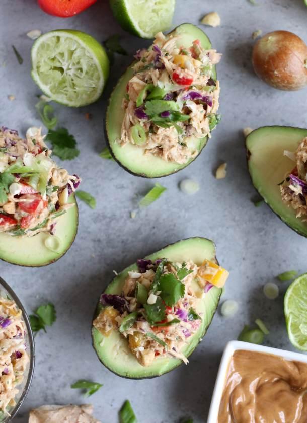 Thai Chicken Salad Stuffed Avocados
