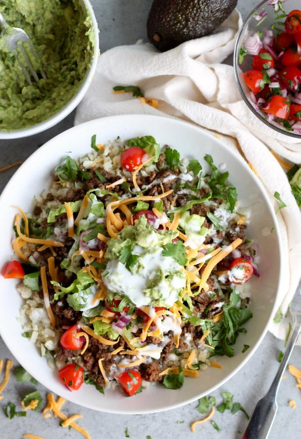 Beef Burrito Bowls with Cilantro Lime Cauliflower Rice