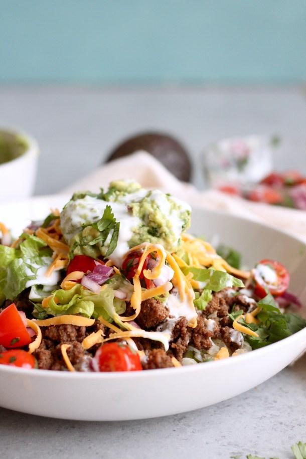 Beef Burrito Bowls with Cilantro Lime Cauliflower Rice