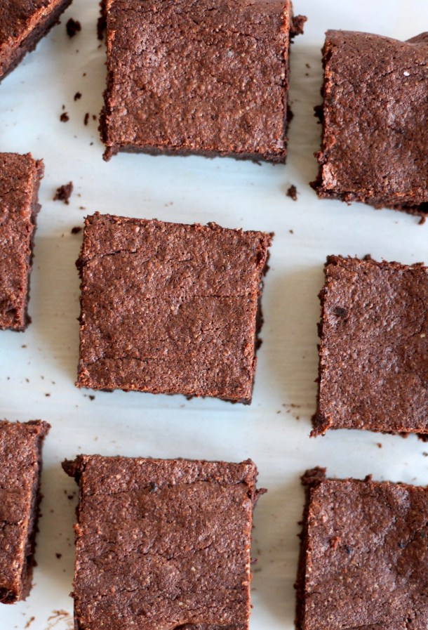 Flourless Almond Brownies with Pomegranate Berry Compote