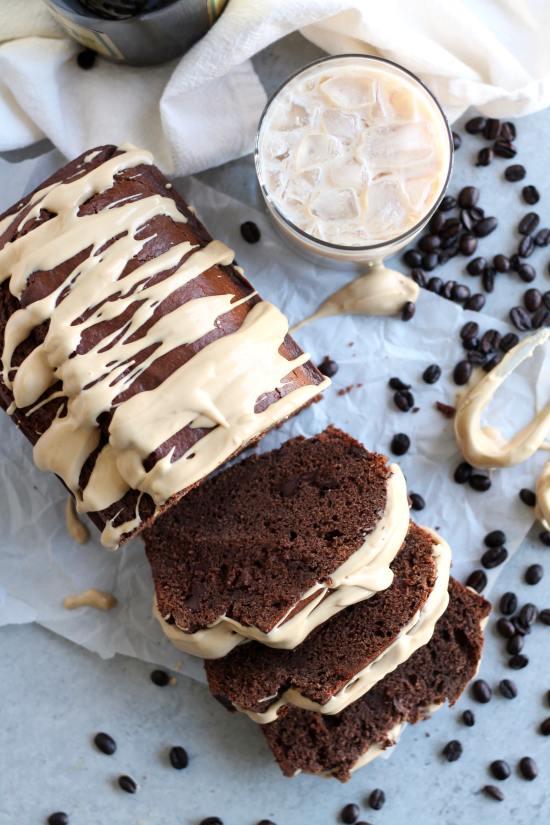 Irish Cream Chocolate Bread with Espresso Cream Cheese Glaze