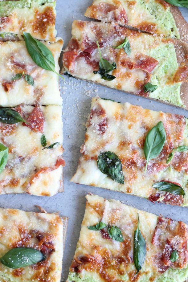 Spring Pizza with Pea Lemon Ricotta and Prosciutto