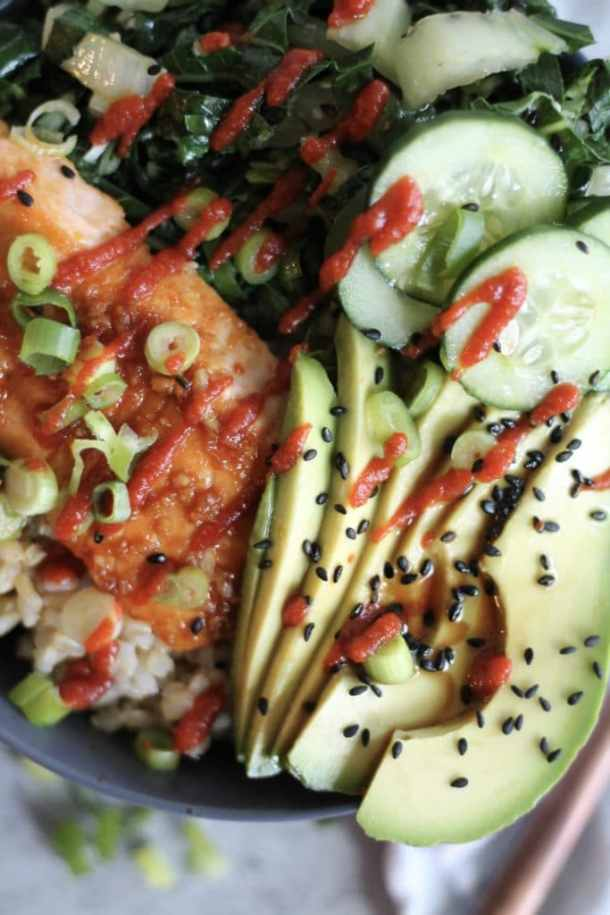 Garlic Sesame Salmon Buddha Bowls