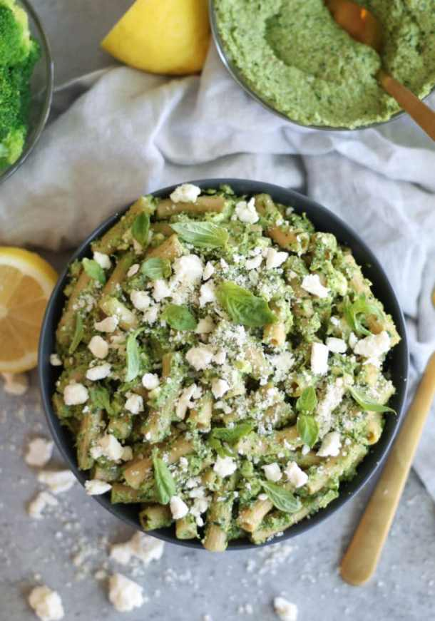 Pasta with Broccoli Pesto, Lemon, and Feta