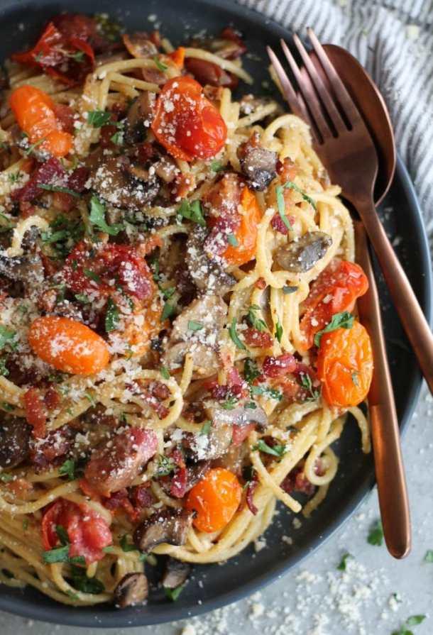 Mushroom and Roasted Tomato Spaghetti Carbonara